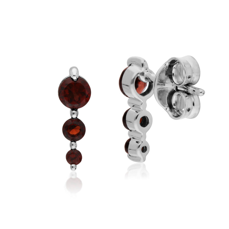 Classic Round Garnet Gradient Drop Stud Earrings in 925 Sterling Silver