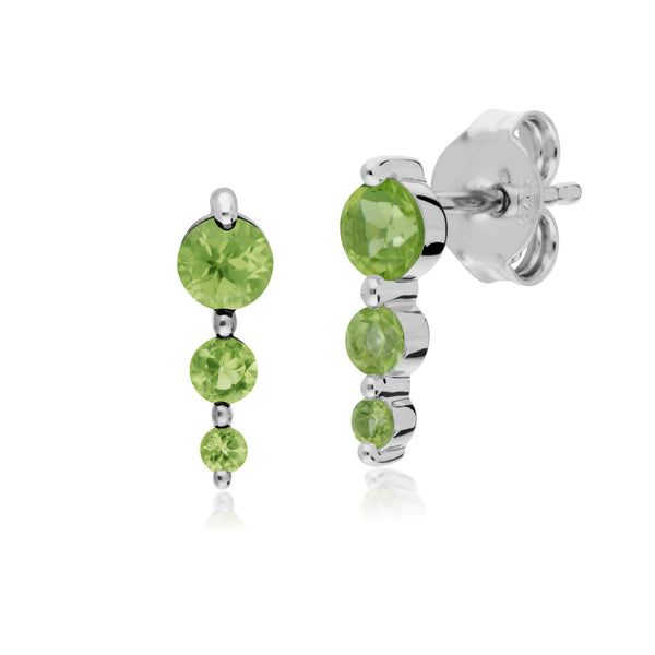 Classic Round Peridot Gradient Drop Stud Earrings in 925 Sterling Silver