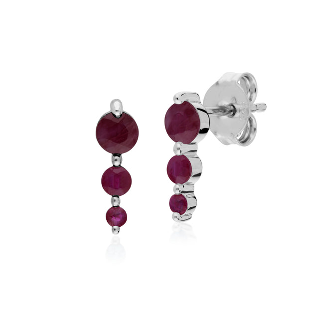 Classic Round Ruby Gradient Drop Stud Earrings in 925 Sterling Silver