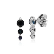 Classic Round Sapphire Gradient Drop Stud Earrings in 925 Sterling Silver