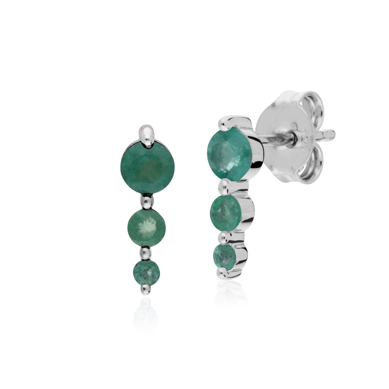 Classic Round Emerald Gradient Drop Stud Earrings in 925 Sterling Silver