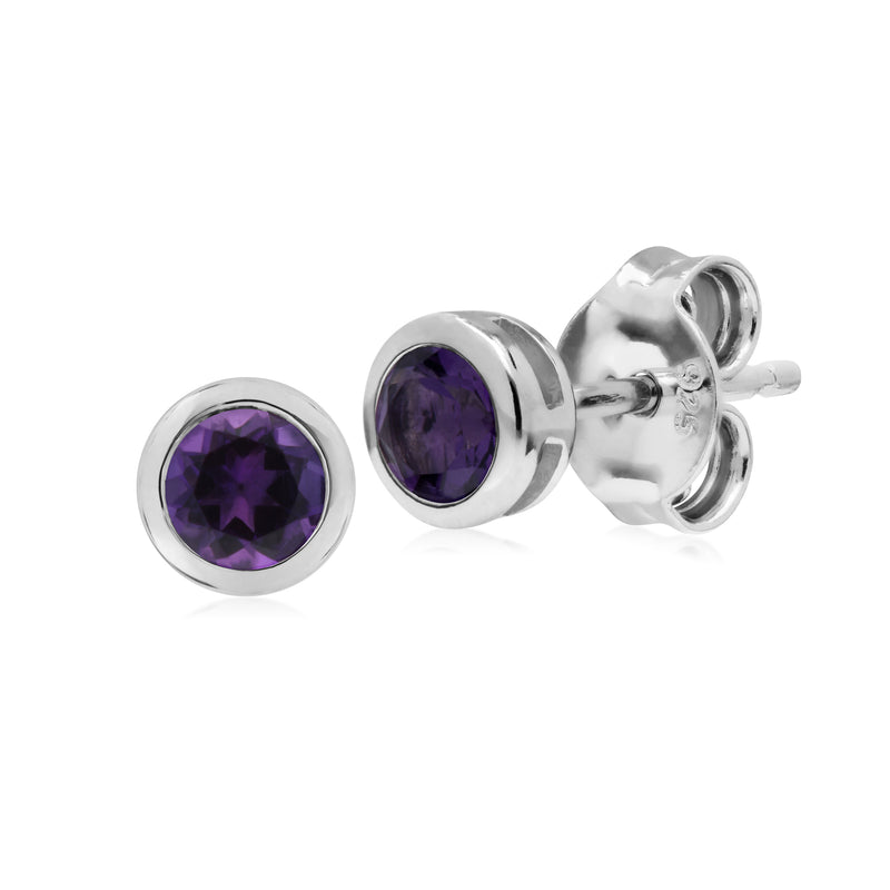 Classic Round Amethyst Bezel Stud Earrings in 925 Sterling Silver