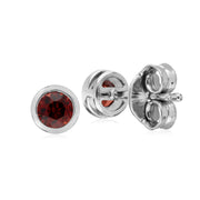 Classic Round Garnet Bezel Stud Earrings in 925 Sterling Silver