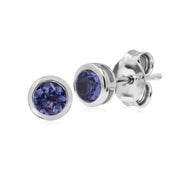 Classic Round Tanzanite Bezel Stud Earrings in 925 Sterling Silver