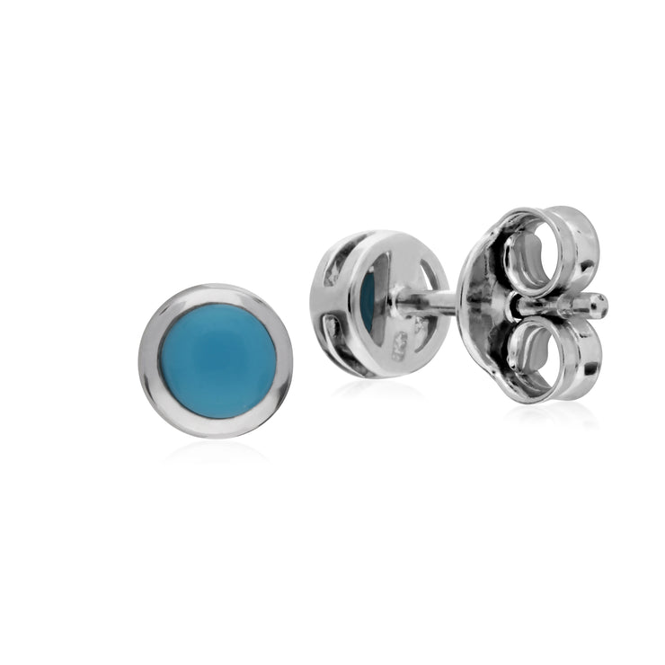 Classic Round Turquoise Bezel Stud Earrings in 925 Sterling Silver
