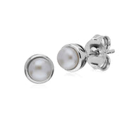 Sterling Silver Simple Chinese Freshwater Pearl Bezel Round Stud Earrings