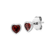 Essential Heart Shaped Garnet Stud Earrings in 925 Sterling Silver 4.5mm