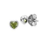 Essential Heart Shaped Peridot Stud Earrings in 925 Sterling Silver 4.5mm
