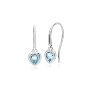 Essential Heart Shaped Blue Topaz Drop Earrings in 925 Sterling Silver
