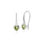 Essential Heart Shaped Peridot Drop Earrings in 925 Sterling Silver