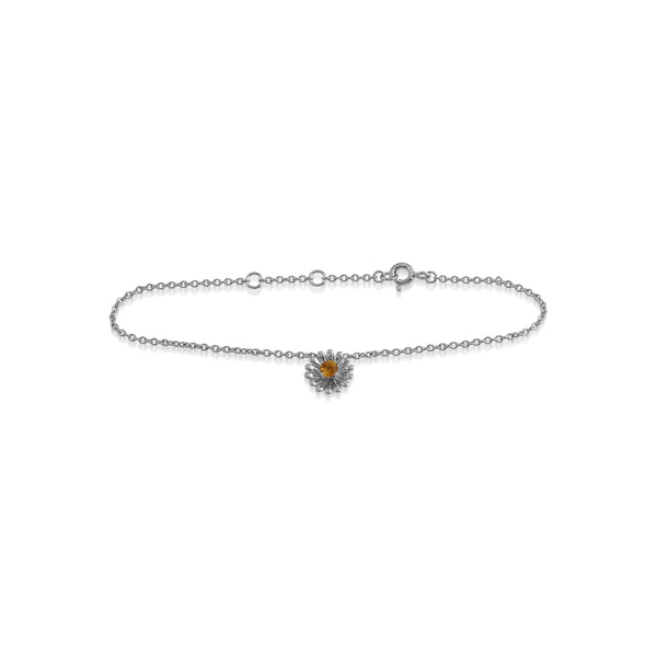 Floral Round Citrine Daisy Flower Single Stone Bracelet in 925 Sterling Silver