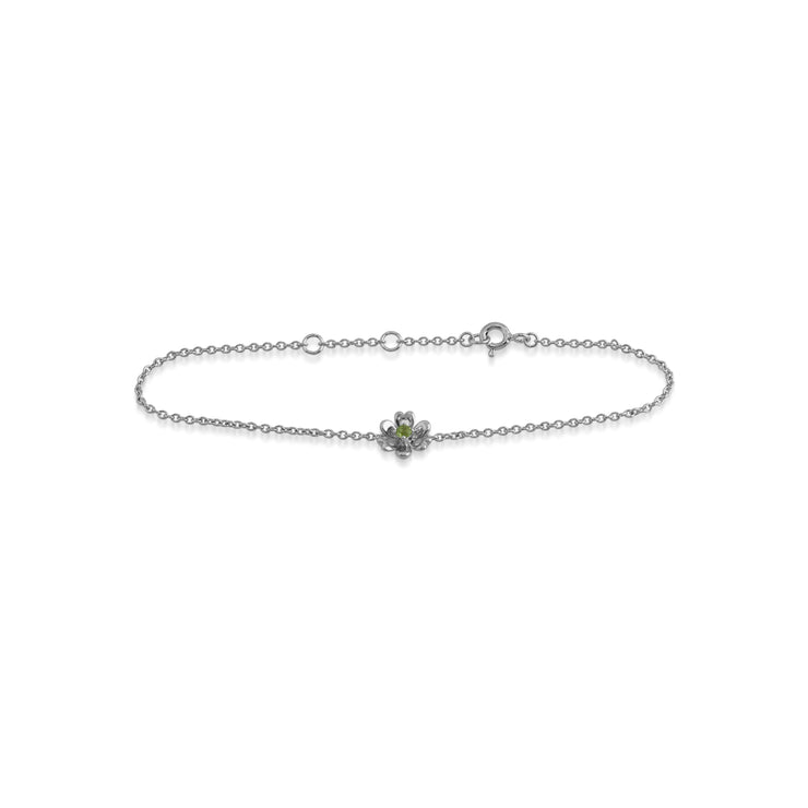 Floral Round Peridot Flower Single Stone Bracelet in 925 Sterling Silver