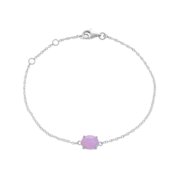 Classic Oval Milky Kunzite Single Stone Bracelet in 925 Sterling Silver