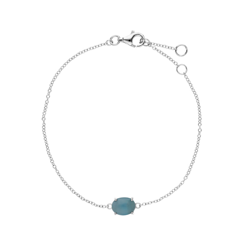 Classic Oval Larimar Single Stone Bracelet in 925 Sterling Silver