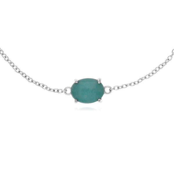 Classic Oval Amazonite Single Stone Bracelet in 925 Sterling Silver