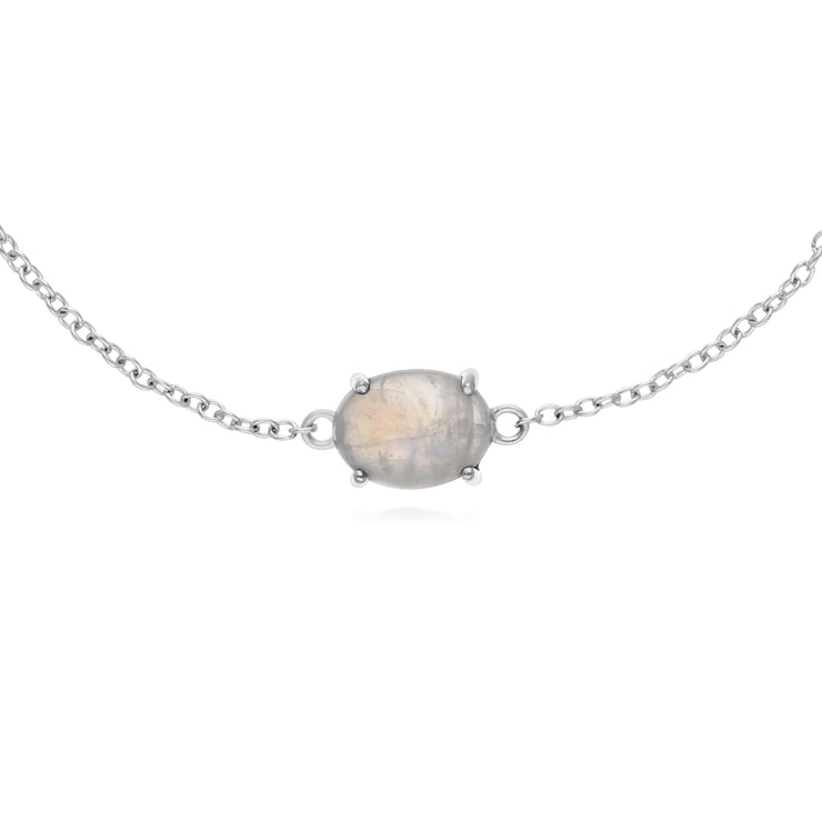 Classic Oval Rainbow Moonstone Single Stone Bracelet in 925 Sterling Silver