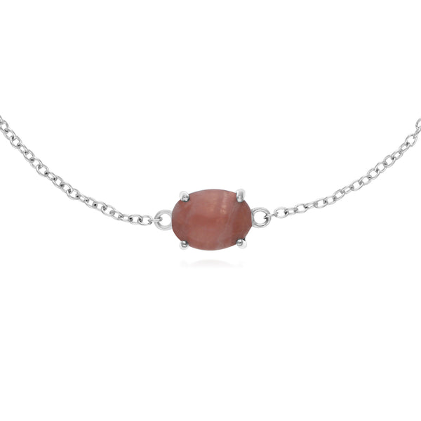 Classic Oval Rhodochrosite Single Stone Bracelet in 925 Sterling Silver
