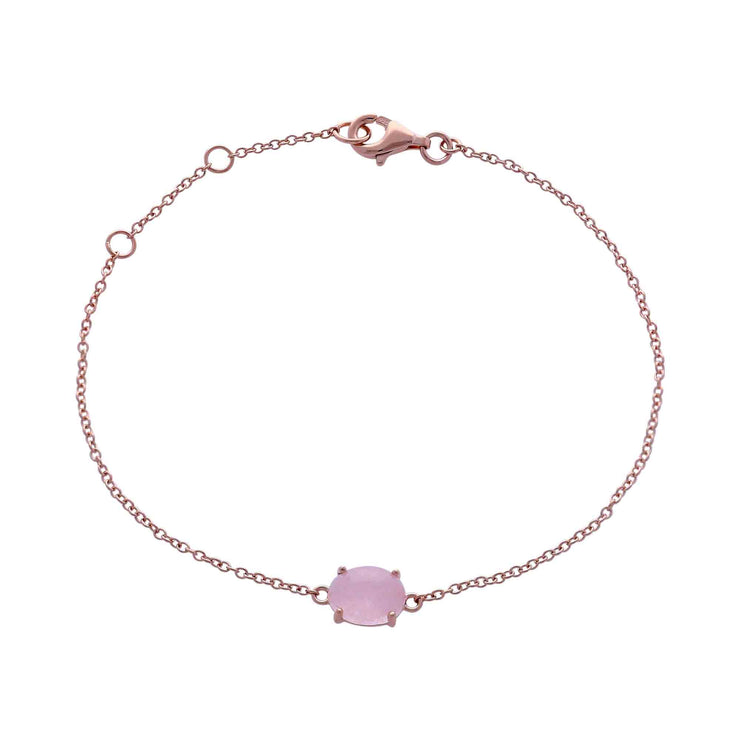 Classic Oval Milky Morganite Single Stone Bracelet in 925 Sterling Silver