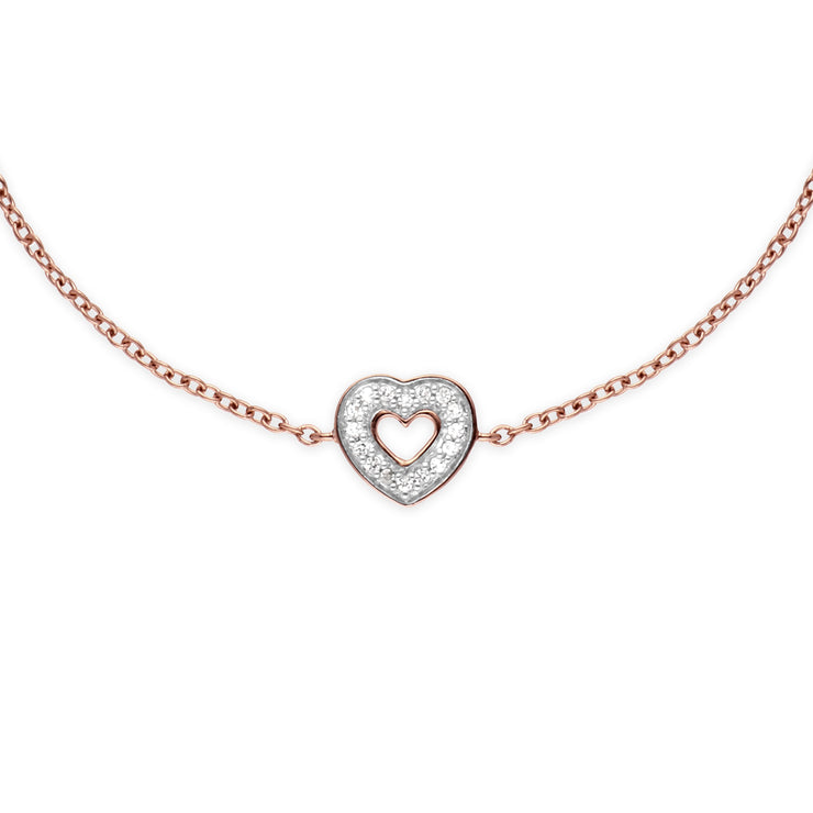 Gemondo Rose Gold Plated Sterling Silver Clear Topaz Heart 19cm Bracelet