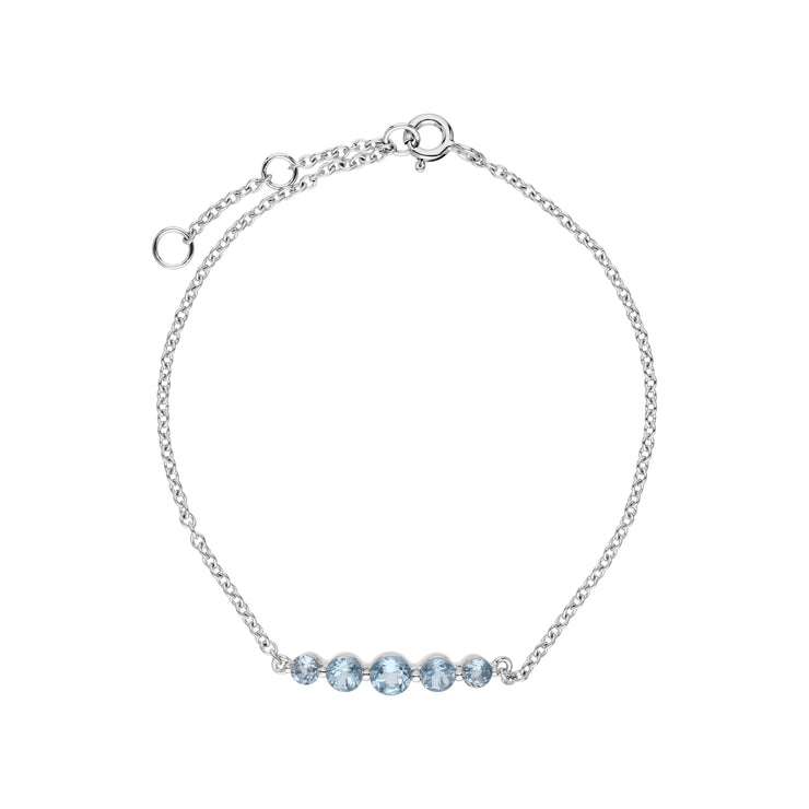 Classic Round Blue Topaz 5 Stone Gradient Bracelet in 925 Sterling Silver