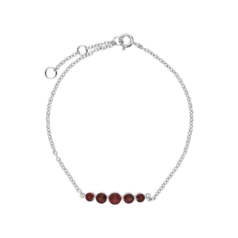 Classic Round Garnet 5 Stone Gradient Bracelet in 925 Sterling Silver