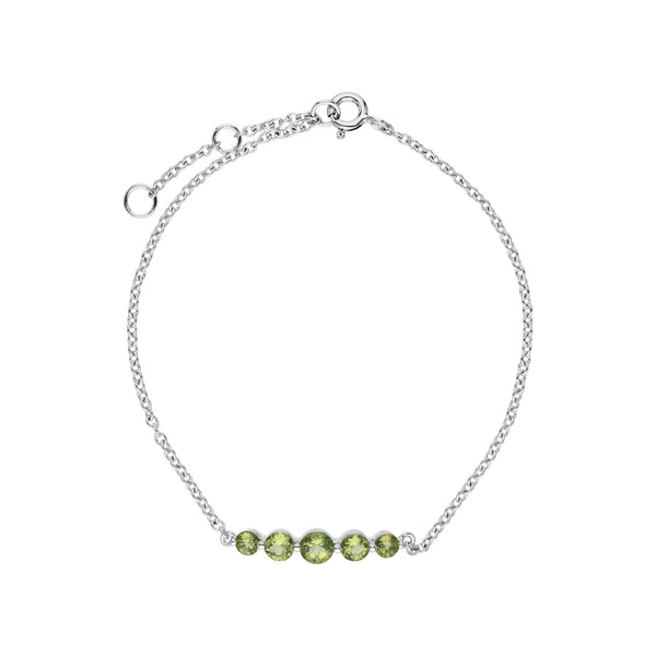 Classic Round Peridot 5 Stone Gradient Bracelet in 925 Sterling Silver