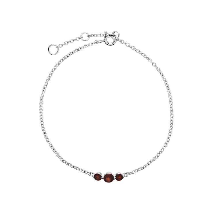 Classic Round Garnet Three Stone Gradient Bracelet in 925 Sterling Silver
