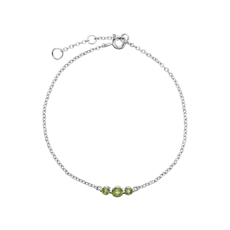 Classic Round Peridot Three Stone Bracelet in Sterling Silver