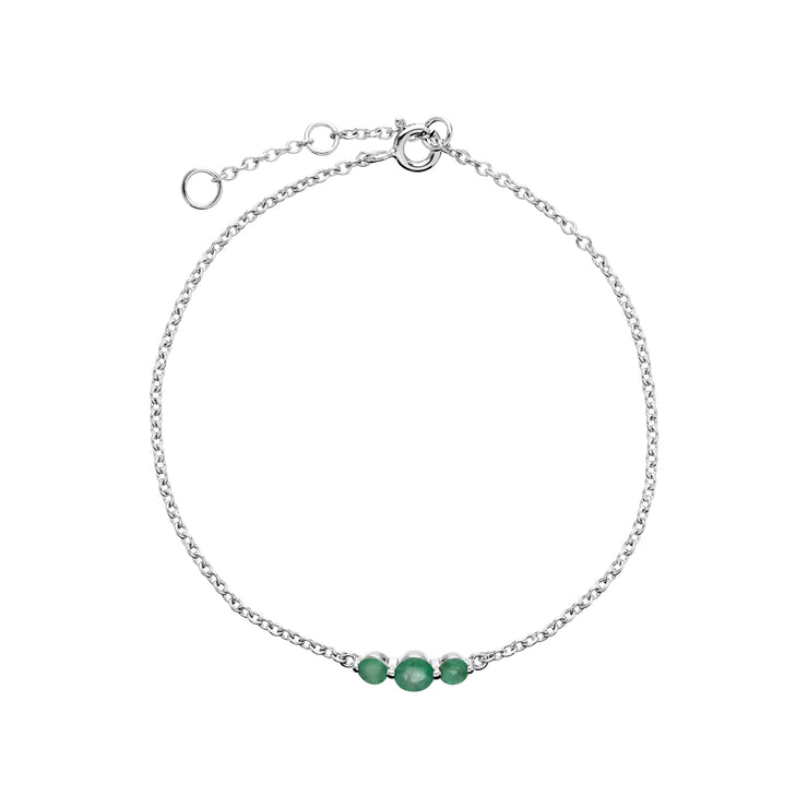 Classic Round Emerald Three Stone Gradient Bracelet in 925 Sterling Silver