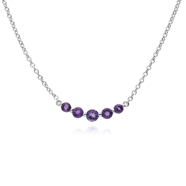 Classic Round Amethyst Gradient 5 Stone Necklace in 925 Sterling Silver