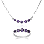 Classic Round Amethyst Five Stone Gradient Ring & Necklace Set Image 1