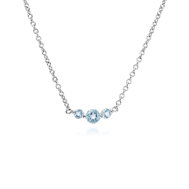 Gemondo Sterling Silver Three Stone Blue Topaz Round Gradient 45cm Necklace