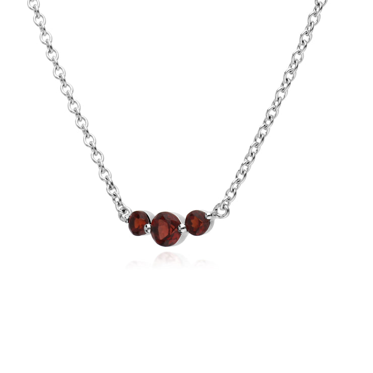 Classic Round Garnet 3 Stone Gradient Necklace in 925 Sterling Silver