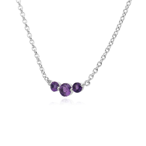 Classic Round Amethyst 3 Stone Gradient Necklace in 925 Sterling Silver