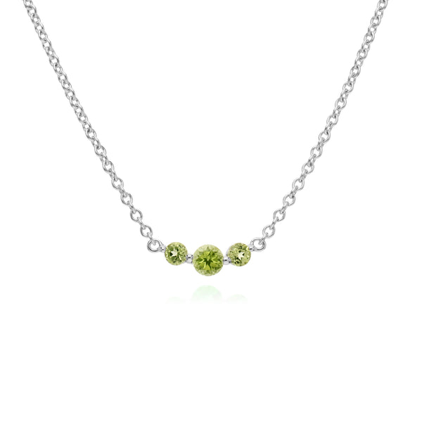 Classic Round Peridot 3 Stone Gradient Necklace in 925 Sterling Silver