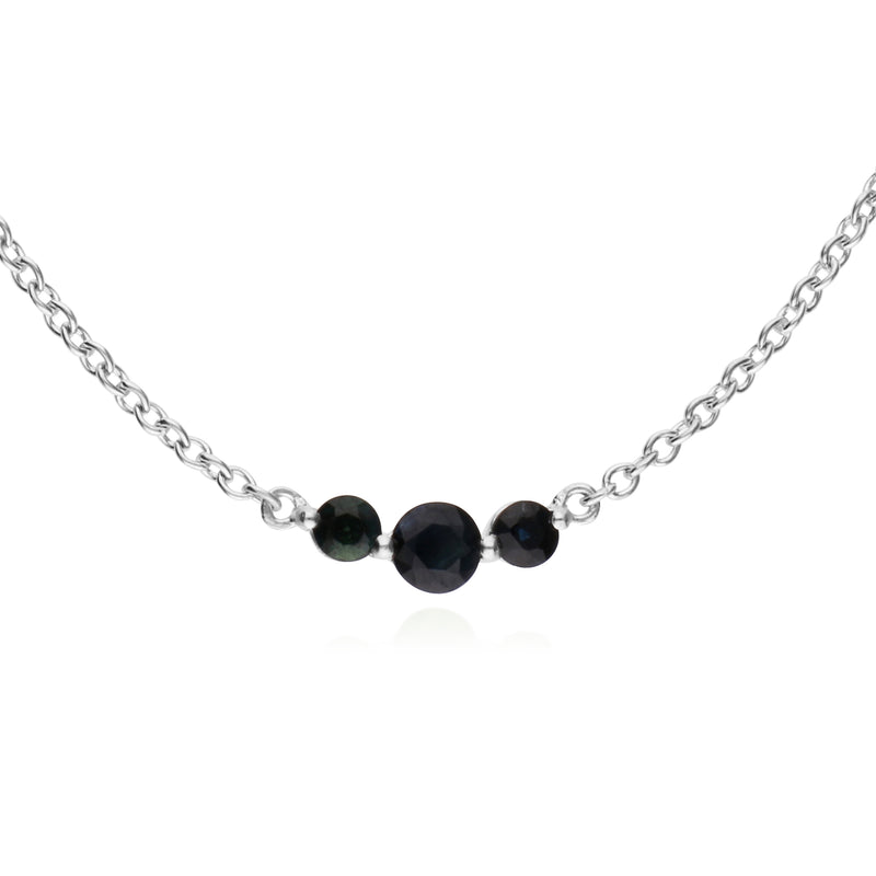 Classic Round Sapphire 3 Stone Gradient Necklace in 925 Sterling Silver