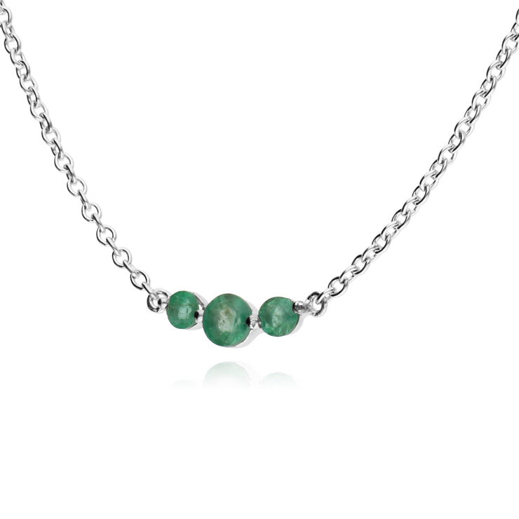 Classic Round Emerald 3 Stone Gradient Necklace in 925 Sterling Silver