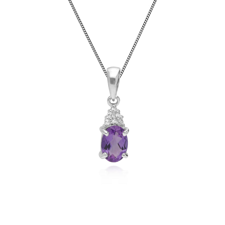 Classic Oval Amethyst & White Topaz Pendant in 925 Sterling Silver