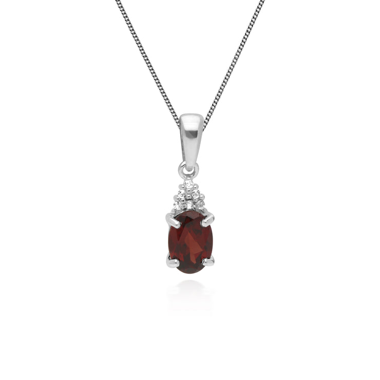 Classic Oval Garnet & White Topaz Pendant in 925 Sterling Silver