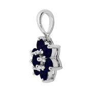 Floral Sapphire Cluster Stud Earrings & Pendant Set Image 6