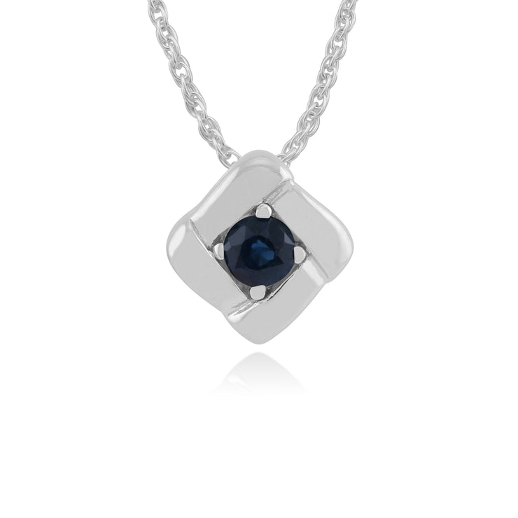 Classic Round Sapphire Single Stone Square Crossover Pendant in 925 Sterling Silver
