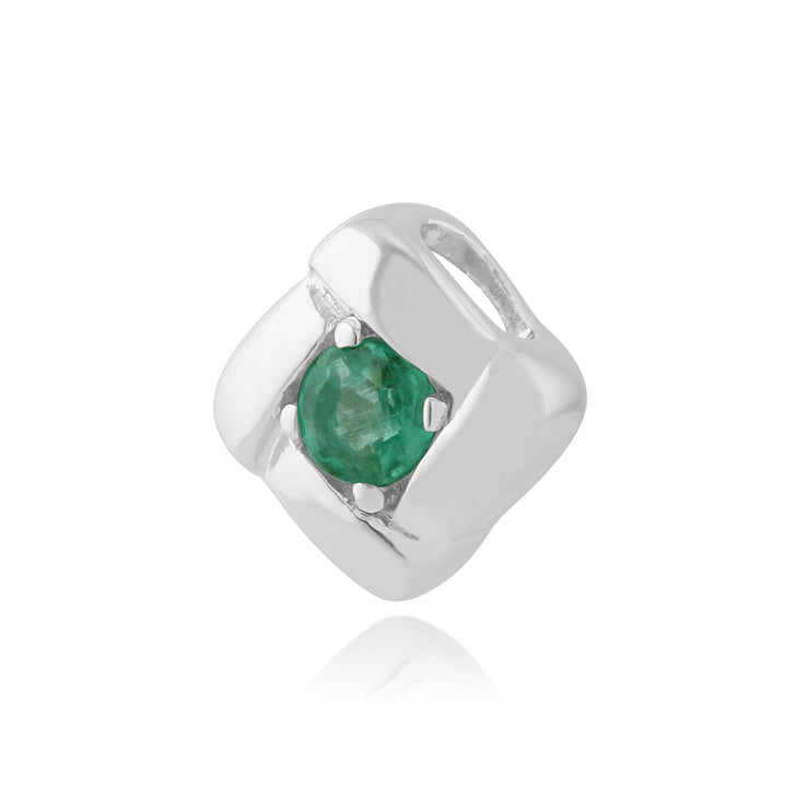Classic Round Emerald Single Stone Square Crossover Pendant in 925 Sterling Silver