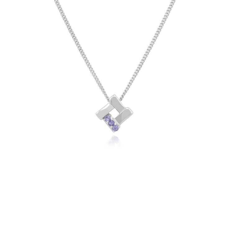 Classic Round Tanzanite Square Crossover Pendant in 925 Sterling Silver