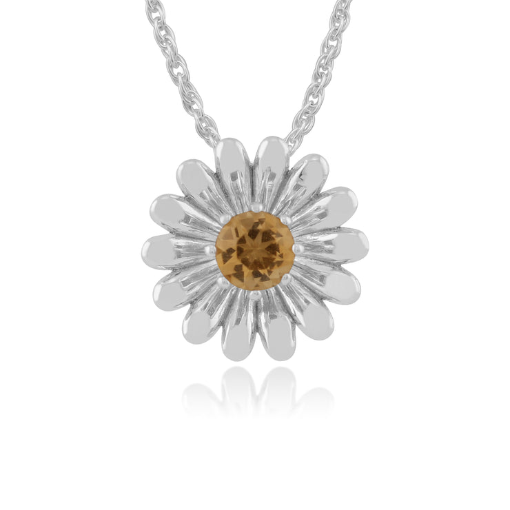 Floral Round Citrine Daisy Flower Single Stone Pendant in 925 Sterling Silver