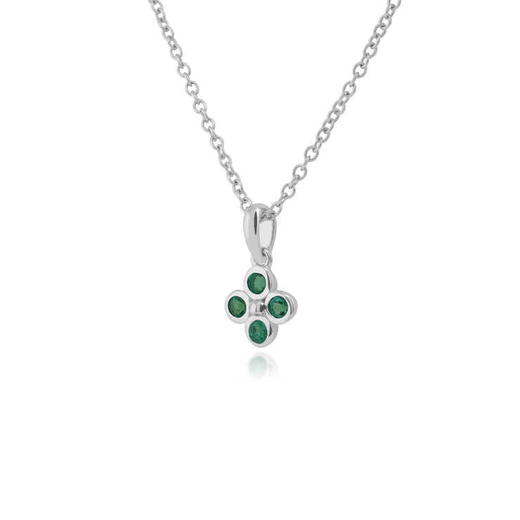 Floral Round Emerald Bezel Set Clover Pendant in 925 Sterling Silver