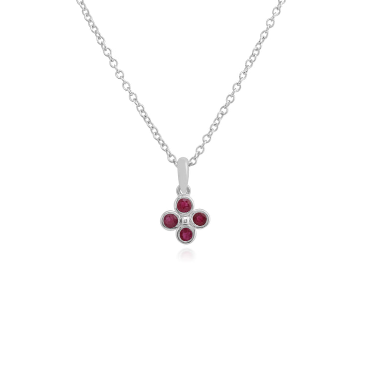Floral Round Ruby Bezel Set Clover Pendant in 925 Sterling Silver