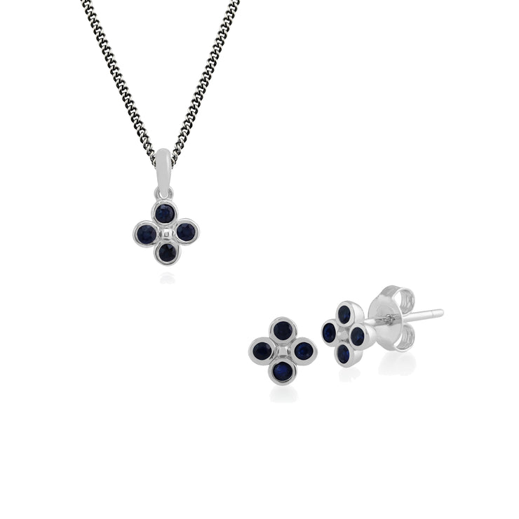 Floral Round Sapphire Clover Stud Earrings & Pendant Set in 925 Sterling Silver