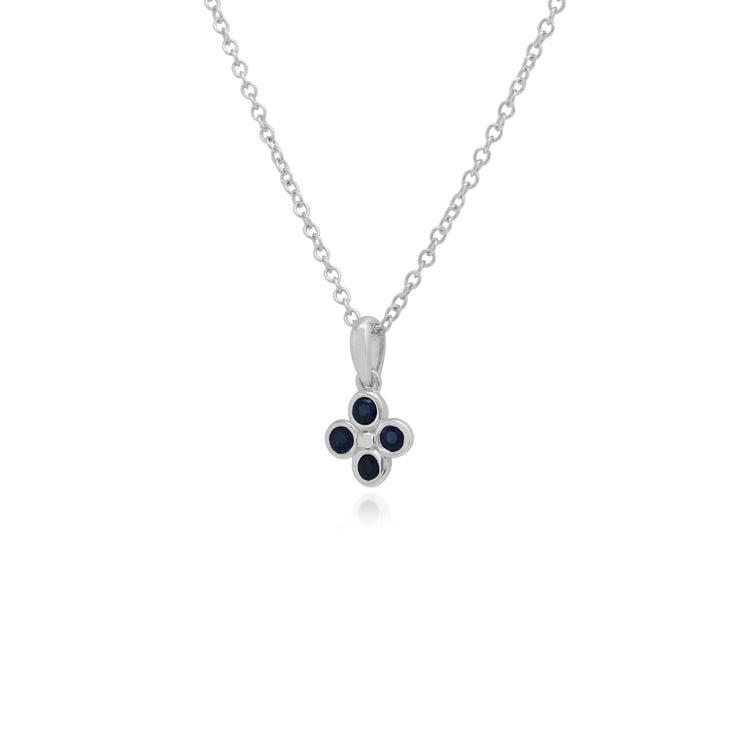 Floral Round Sapphire Bezel Set Clover Pendant in 925 Sterling Silver