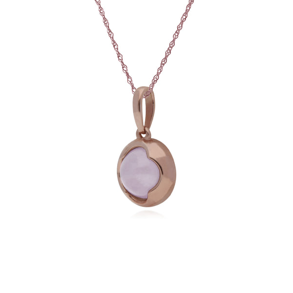 Rose Gold Plated Rose Quartz Round Necklace Image 2