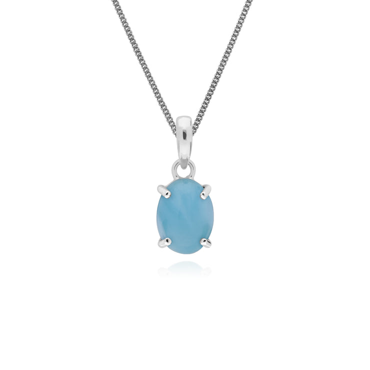 Classic Oval Larimar Pendant in 925 Sterling Silver